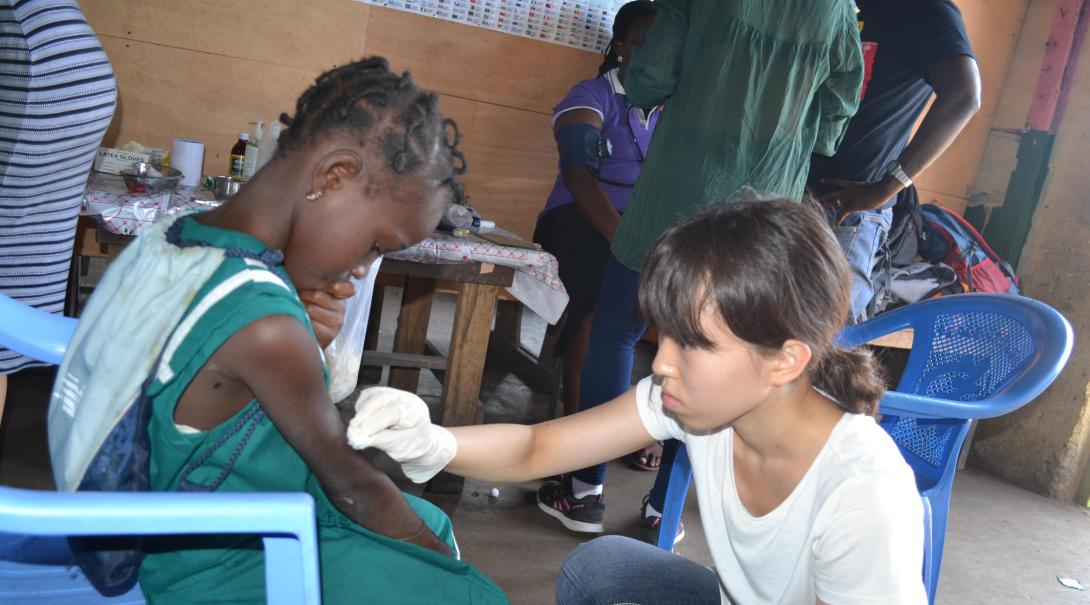 A Projects Abroad volunteers participates in a medical outreach in Ghana during her Public Health internship.